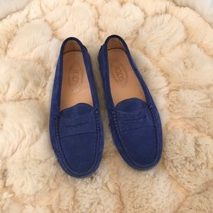 Tod's moccasins blue suede